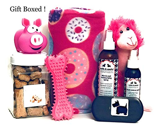 Wolfe & Sparky Gift Boxed Deluxe Pink Dog Gift Set Includes a Classy Dog Blanket, 2 Bottles of Wolfe & Sparky Natural Grooming Products, Healthy