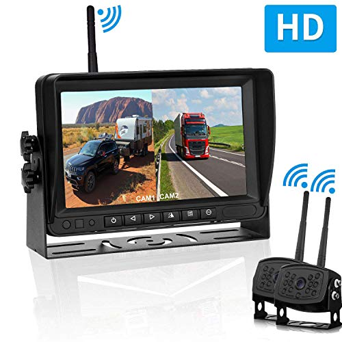 Truck Dual Digital Wireless Backup Camera Kit with 7 inch LCD Monitor Trailer Rear View Front View Camera Without Difference Color No Interference IP69 Waterproof Latest Wide-Angle Camera