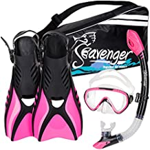 Seavenger Voyager Advanced Snorkeling Set with Panoramic Mask, Trek Fins, Dry Top Snorkel & Gear Bag