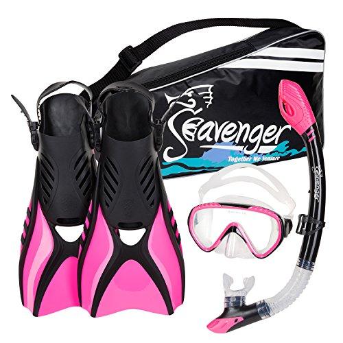 Seavenger Diving Snorkel Set - (Pink) - (Womens Snorkel)