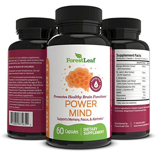 Power Mind Brain Function Booster - Supports and Boosts Memory, Focus, Alertness and Mental Performance - Daily Vitamin Nootropic Supplement For Adults - 60 Capsules - By ForestLeaf by ForestLeaf