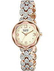 Burgi Womens BUR124RG Swarovski Crystal Accented Faceted Rose Gold Bracelet Watch