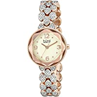 Burgi Women's BUR124RG Swarovski Crystal Accented Faceted Rose Gold Bracelet Watch