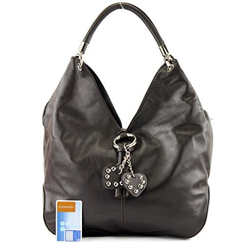 à bandoulière Nappaleder Sac sac sac Präzise italien Farbe cuir modamoda Dunkelbraun nur sac Farbe sac main de in femme Made cuir 330A à Italy wnqY6fF