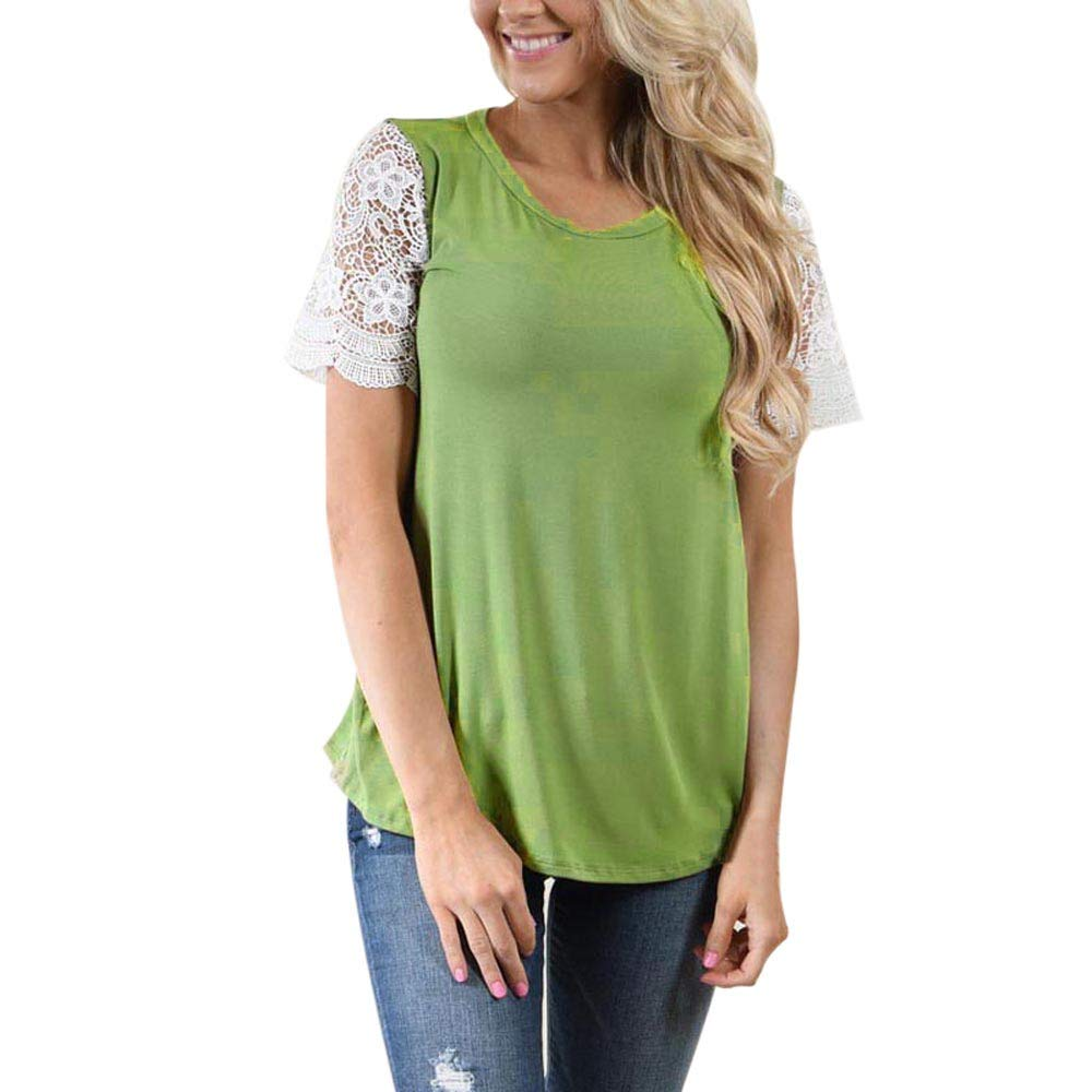 Womens Tops Lace Patchwork Short Sleeve Blouse Casual Round Neck Solid Soft T Shirt (L, Green)