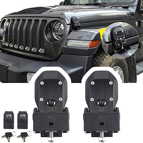 (Drizzle JL Hood Latches Hood Lock Catch Kit 2007-2018 Jeep Wrangler JK JL (Black) )