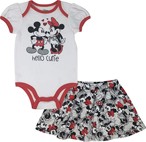 Disney Minnie Mickey Mouse Infant Baby Girls' Bodysuit & Skirt Outfit Set (White/Grey, 3-6 Months) -