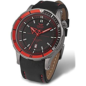 Vostok Europe Anchar Automatic Titanium Mens Watch Red and Black - 3 Straps NH35A/5107171