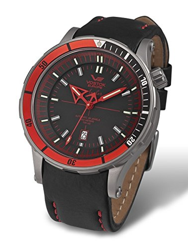 Vostok Europe Anchar Automatic Titanium Men's Watch Red and Black - 3 Straps NH35A/5107171