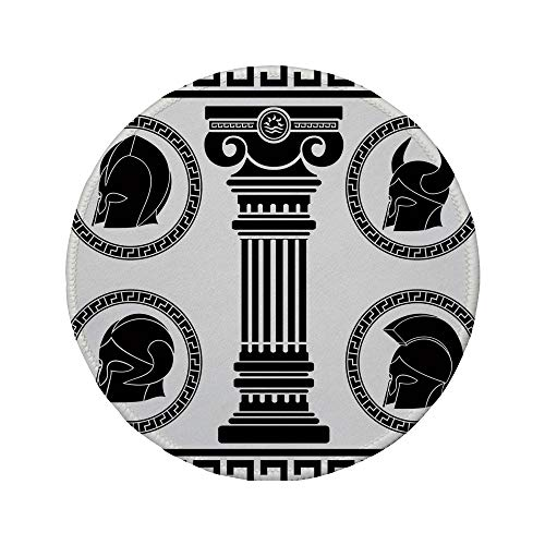 Non-Slip Rubber Round Mouse Pad,Toga Party,Patterned Circular Frames with Antique Helmets Spartan Military Costume,Black and -