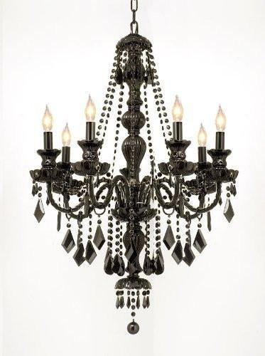 Gothic Jet - NEW! JET BLACK GOTHIC CRYSTAL CHANDELIER LIGHTING H37 x W26!
