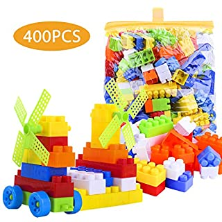 Awekris 400 PCS Building Block Set Big Soft Plastic Multi Colored Building Bag Wheeled Train Pieces Maple Leaves Great Party Gift Toy Kids Toddlers (Classic)