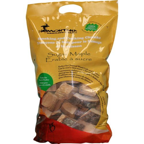 Montana Grilling Gear Smoking and Cooking Wood Chunks – 100% Organic and Pesticide Free - Safe for Grills and Smokers - 10lb Bag - Sugar Maple - WCH10-SM - Maple Wood Chunks