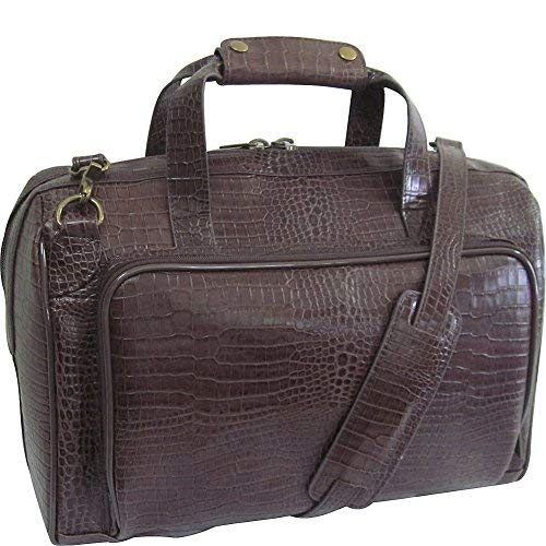 AmeriLeather Croco-Print 16 Inch Leather Carry-On Weekend Duffel (Dark Brown