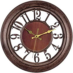 Bernhard Products Decorative Wall Clock, 13 Inch Silent Non-Ticking Brown Clock with Floating Numbers Design Battery Operated Clocks for Kitchen/Bedroom/Living Room/Dining Room/Office