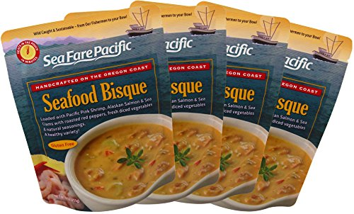 Seafood Bisque - Sea Fare Pacific, 4 pack, gluten free, ready to eat, convenient microwavable boilable pouch, wild caught sustainable Clams, Oregon Shrimp, Alaskan Salmon, excellent on-the-go meal.