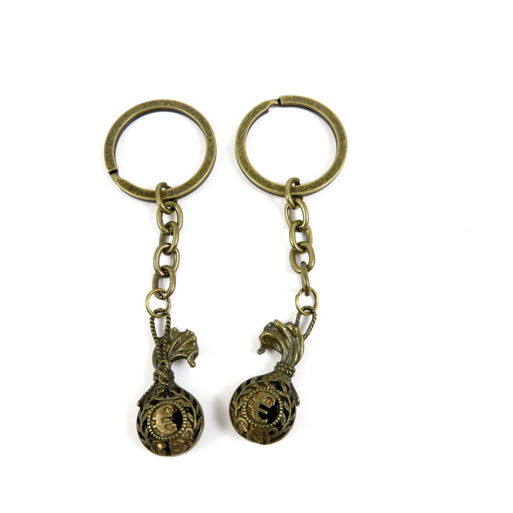 100 Pieces Antique Bronze Keychain Key Chain Tags Keyring Ring Jewelry Making Charms Supplies KC0380 Euro Bag Sack