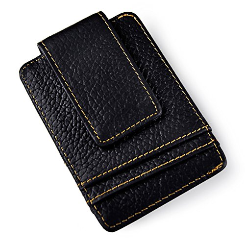 Le'aokuu Mens Genuine Leather Cowhide Magnet Money Clip Credit Case Case Holder Slim Wallet (W1058 E Black)