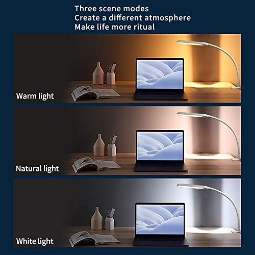 Swing Arm Lamp, Flexible Gooseneck Clamp Lamp, Touch Control Stepless Dimmable, Eye-Caring LED Desk lamp with 3 Color Modes, for Office, Study, Reading, Working, Drawing, Hobby, Sewing, Task. (White)