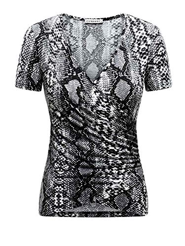 - GUBERRY Snake Print Tops for Women V Neck Short Sleeve Wrap Sexy Fitted T-Shirt