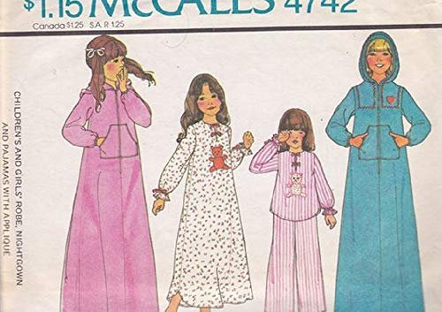Girls Robe, Nightgown, Pajamas with Applique Sewing Pattern Size Girls 12 - McCalls 4742 Vintage Carefree Patterns - Vintage Nightgown Patterns