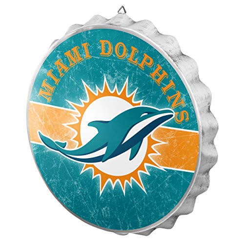 FOCO NFL Miami Dolphins Metal Distressed Bottlecap Wall Signmetal Distressed Bottlecap Wall Sign, Team Color, One Size -