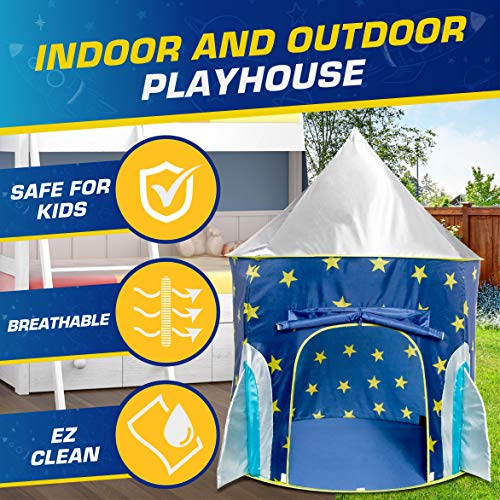 USA Toyz Rocket Ship Pop Up Kids Tent – Spaceship Rocket Indoor Playhouse Tent for Boys and Girls with Included Space…