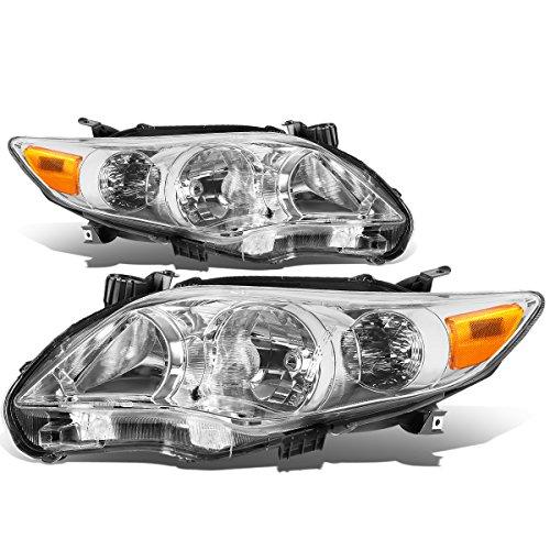Toyota Corolla Sedan Pair of Chrome Housing Amber Corner Headlight Assembly Kit (Corolla Toyota Headlight Chrome)