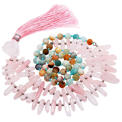 SUNYIK Semi Precious Stone Wrap Bracelet,Tibetan Buddhist Prayer Bead Necklace with Tassel,Amazonite+Rose Quartz Point