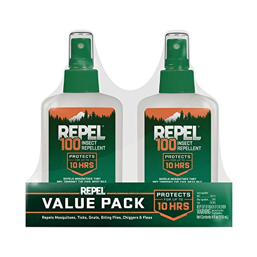 REPEL HG-24108 100 Insect Repellent with 4 oz Pump Spray, Twin Pack (Best Deet Bug Spray)