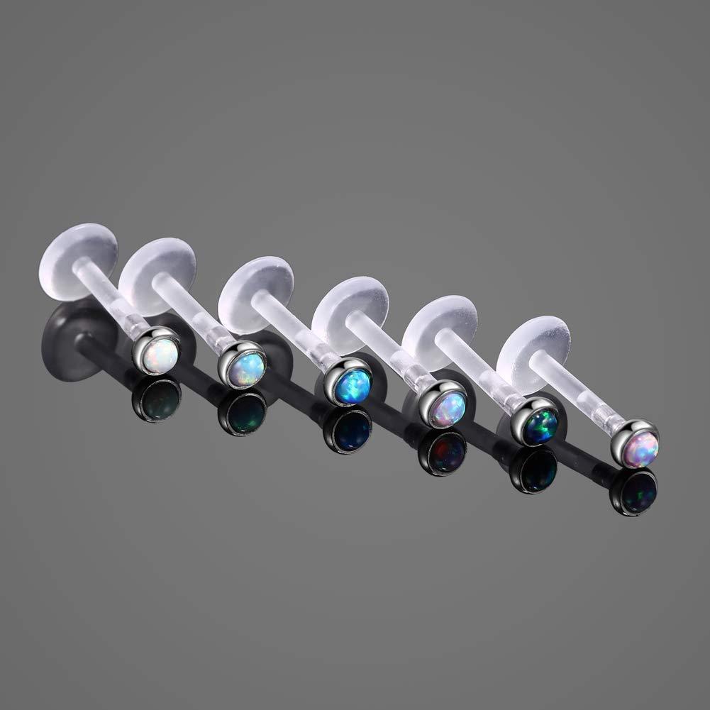 Xpircn 6PCS 16G 5//16 Bioflex Opal Lip Rings Stud Piercing Labret Monroe Nose Tragus Helix Ear Body Piercings A02AC0028