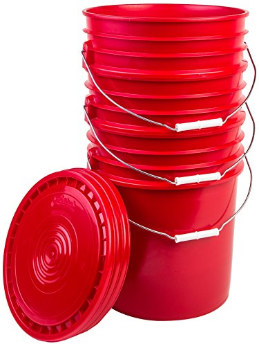 (Hudson Exchange Premium 5 Gallon Bucket with Lid, HDPE, Red, 3 Pack)
