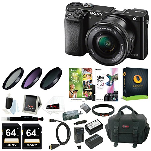 Sony-Alpha-a6000-Mirrorless-Camera-w-16-50mm-Lens-Two-64GB-SD-Card-Bundle