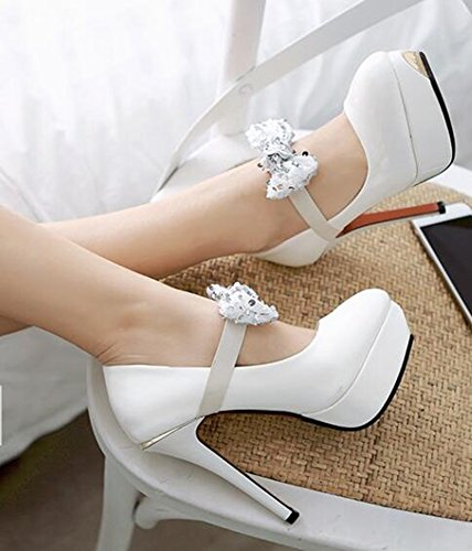 Idifu Femmes Sexy Arcs Haute Talons Aiguilles Plate-forme Élastique Bas Top Slip Sur Les Pompes Club Chaussures Blanc