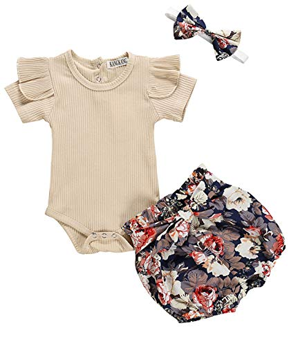 Newborn Baby Girl Clothes Flare Sleeve Romper + Floral Short Pants+Headband 3pcs Summer Outfit Set 0-3 Months Rice White]()