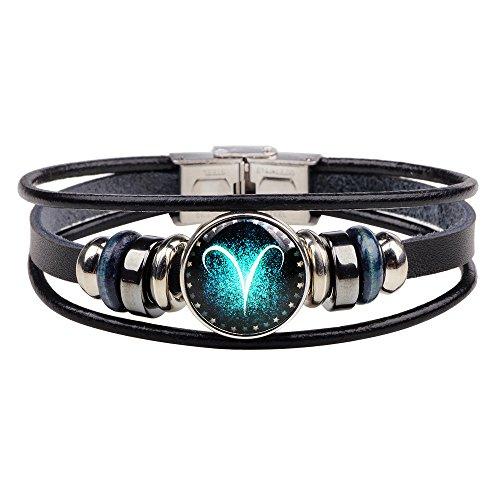 Winter's Secret Twelve Constellations Black Leather 3 Row Alloy Beaded Stainless Steel Button Bracelet