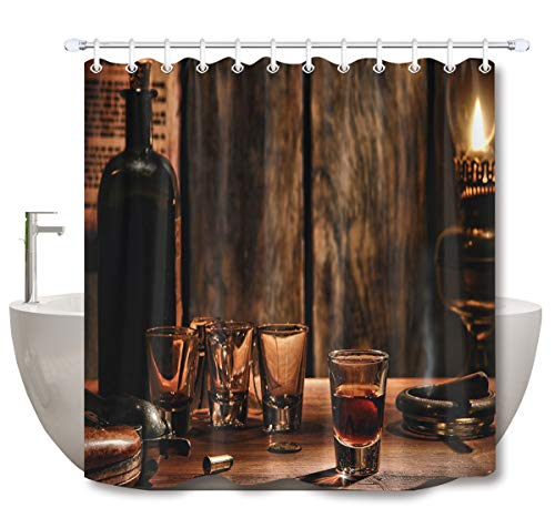 LB Drinking Glass Cup Cigar Western Life Style Shower Curtains for Bathroom, West Country Decor Drapes, 70 x 70 Inch Shower Curtain Set Waterproof Dallas Cowboys Art Glass Ornament