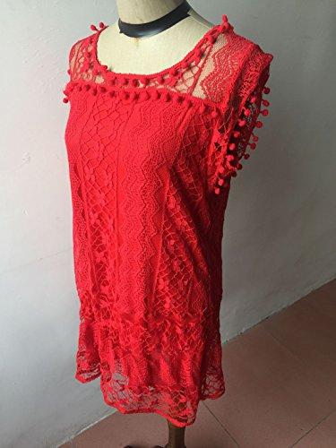 WOZNLOYE Sommer Damen Minikleid Rundhals Ärmelloses Spitzen Kleider Strandkleider Elegant Einfarbig Partykleid Cocktailkleid Abendkleider Rot hZ2Em