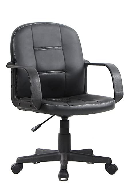 VIVA OFFICE Ergonomic Mid Back Office Chair, Bonded Leather Computer Task  Chair