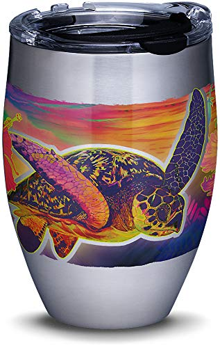 Tervis 1312111 Guy Harvey - Neon Turtle Stainless Steel Insulated Tumbler with Clear and Black Hammer Lid, 12oz, Silver