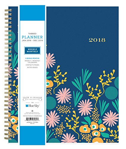 "Blue Sky Snow & Graham 2018 Weekly & Monthly Planner, Twin-Wire Binding, 8.5"" x 11"", Kukka - 103281"