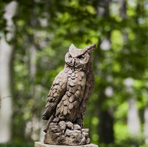 Campania International A-337-BR Horned Owl Statue, Large, Brown Stone - Cast Animal Campania Stone