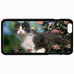 Fashion Unique Design Protective Cellphone Back Cover Case For iPhone 6 Plus Case Calico Cat In Garden Black