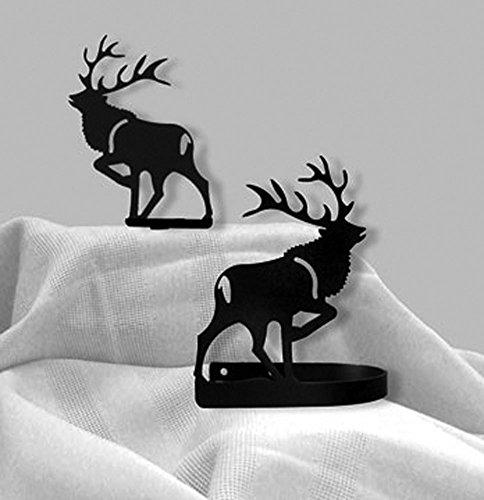 Iron Elk Curtain Hold Tie Backs -Set of 2-Black (Elk Tie Backs)