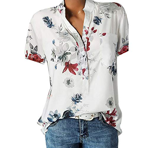 Tops for Women Plus Size, Summer Floral Print Short Sleeve T-Shirts V-Neck Button Up Blouse Casual Tee White