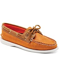 Sperry Top-Sider Womens A/O 2 Eye Orange Sparkle Suede/Cognac Boat Shoe 11 M (B)