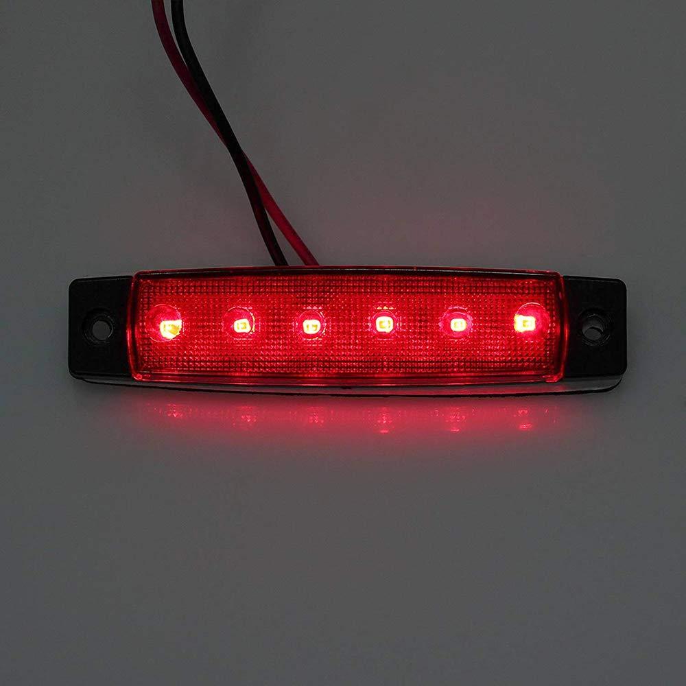 AOHEWEI 10 x Luci di Posizione Laterali del Rimorchio LED Rosso Posteriore Anteriore del Camion Lampade Indicatori Laterali 12V per Rimorchio Furgone/Caravan/Camion rosso, 12V