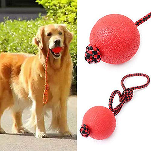 Indestructible Soild Dog Ball Rope Pet Puppy Chew Play Tooth Elastic Ball Toys S