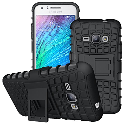 J1 2016 Case, Galaxy Amp 2 Case, Galaxy Express 3 Case, Viodolge [Shockproof] Hybrid Tough Rugged Dual Layer Protective Case Cover with Kickstand for Samsung Galaxy J1 2016 (black+black)