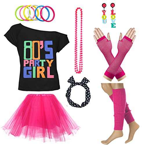 Xianhan 1980s Outfit 80's Party Girl Retro Costume Accessories Outfit Dress for 1980s Theme Party Supplies (S/M, Hot Pink) for $<!--$27.90-->